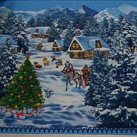 Вафельная ткань новогодняя зима, ширина 50 см