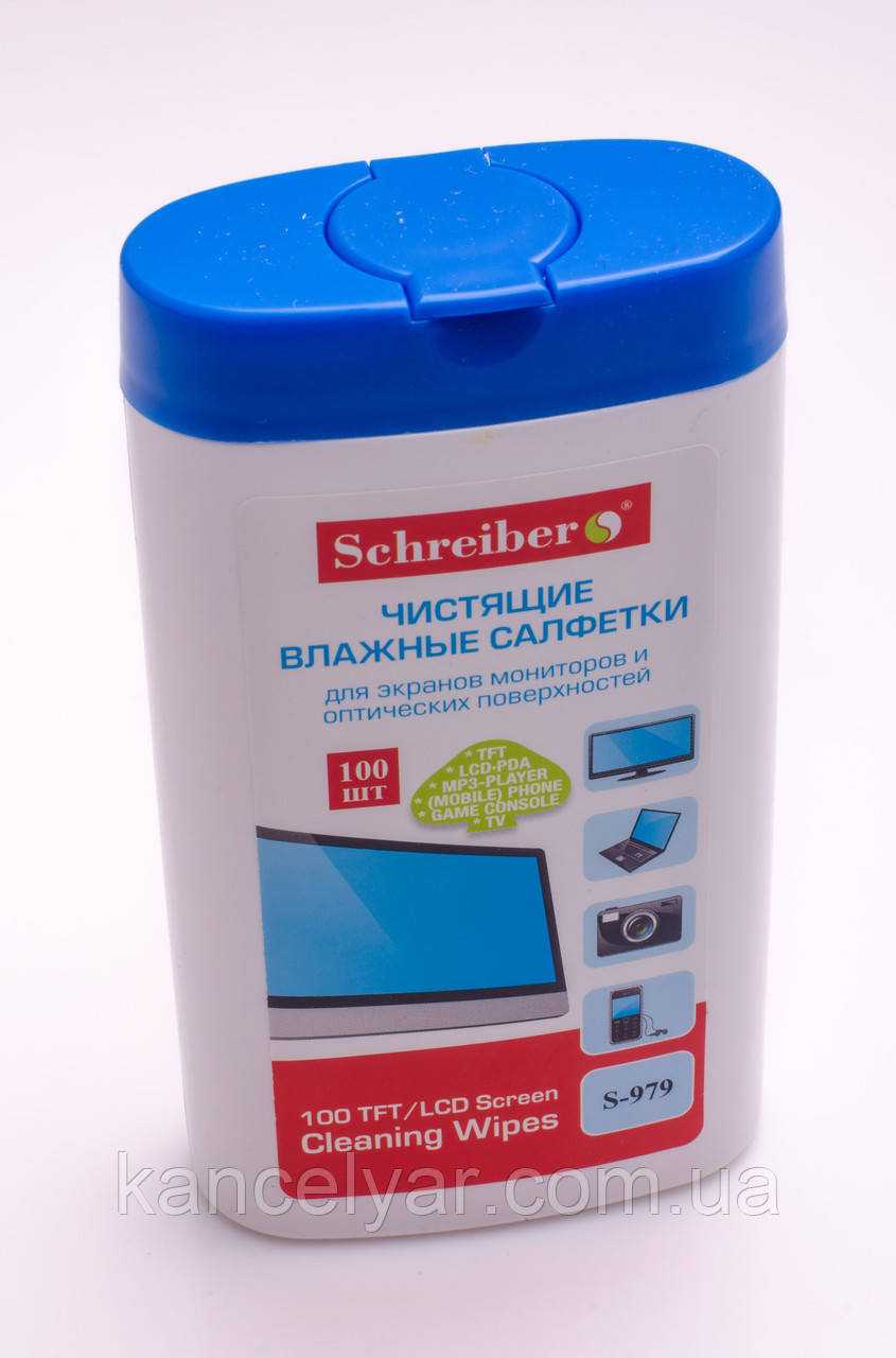 Чистячі серветки вологі, 100 шт., для моніторів і оптичних поверхонь