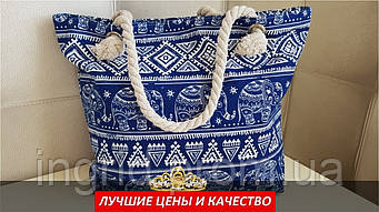"""Пляжная сумка синего цвета принт """"слоны"""""""