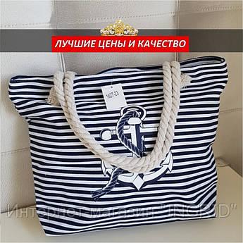 """Пляжная сумка сине-белая с принтом """"якорь"""""""