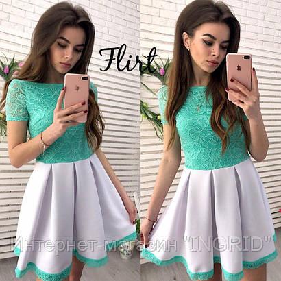 Платье с кружевной отделкой Алиса мята