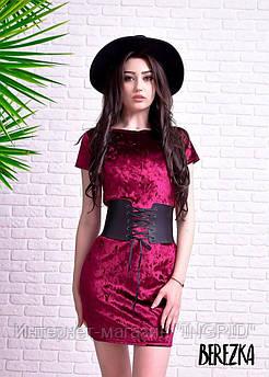 Платье из мраморного велюра с корсетом