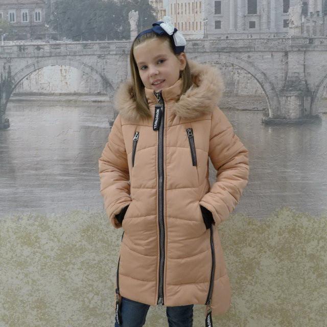 Детскее зимове пальто Маргарет(персик), 34-42 розміри на ріст 128 - 156