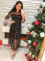 Модное и элегантное, женское платье-макси из органзы с красивой вышивкой.
