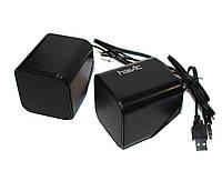 Колонки 2.0 Havit HV-SK473 Black, 2 x 3 Вт, пластиковый корпус, питание от USB, управление сзади