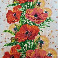 Вафельная ткань с крупными маками и одуванчиками, ширина 50 см, фото 1