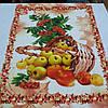 Вафельная ткань с корзиной яблок и калиной, ширина 50 см