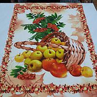 Вафельна тканина з кошиком яблук і калиною, ширина 50 см, фото 1