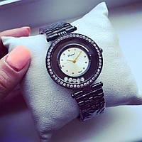 Стильные женские часы Элегант черный+серебристый циферблат