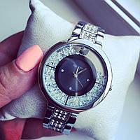 Супер стильные женские часы Сваровски серебро+черный циферблат