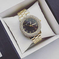 Супер модные часы МК женские золото+черный циферблат