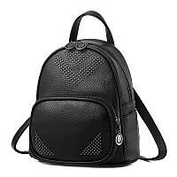 Рюкзак городской женский мини с заклепками для девушек, девочек (черный), фото 1