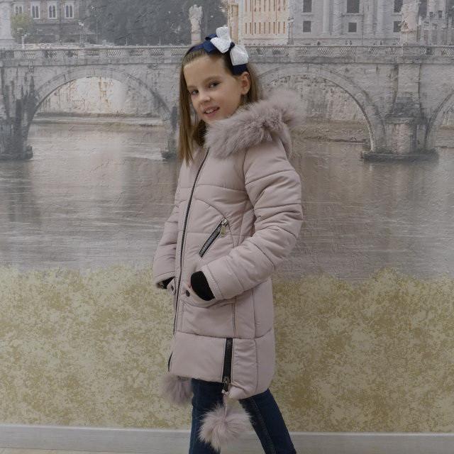 Детскее зимове пальто Бубонець(червоний), 28-36 розміри на ріст 110 - 138