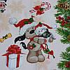Вафельна тканина новорічна з собачками, ширина 50 см