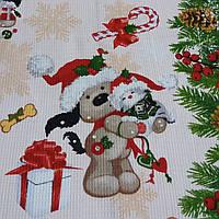 Вафельная ткань новогодняя с собачками, ширина 50 см