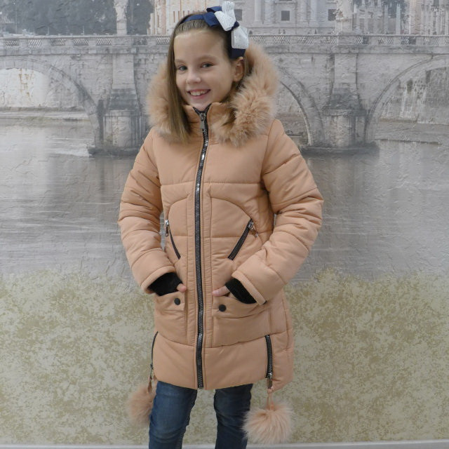 Детскее зимове пальто Бубонець(синій), 28-36 розміри на ріст 110 - 138