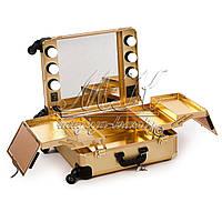 Профессиональная мобильная студия для визажиста с освещением и розеткой, золотая
