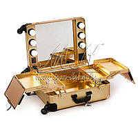 Профессиональная мобильная студия для визажиста с освещением и розеткой, золотая , фото 1