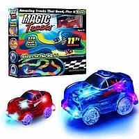 Детская игрушечная дорога - конструктор Magic Tracks 220 деталей, светящаяся гибкая гоночная трасса