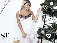 Женская пижама из велюра в батале