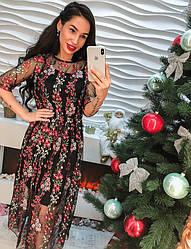 Красивое платье органза с вышивкой только черное