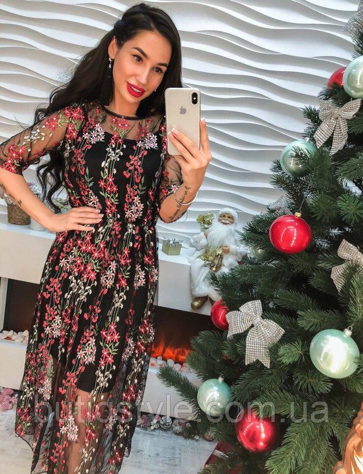 a2d1123355766ee Красивое платье органза с вышивкой только черное -