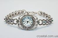 Серебряные часы с натуральными изумрудами,сапфирами и рубинами.