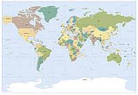 Фотообои фотошпалери Komar 1-617 World Map Карта мира 184х127 бумажные
