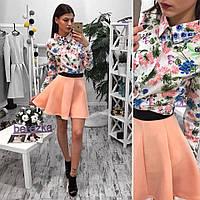 Рубашка с цветочным принтом 1402