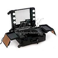 Профессиональная мобильная студия для визажиста с освещением и розеткой, черная