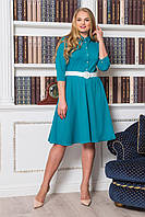 Женское бирюзовое  платье с юбкой клеш батал