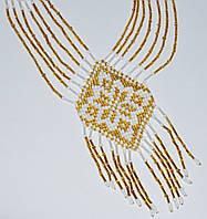 Ожерелье из бисера Эдельвейс золотистый