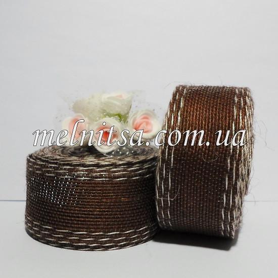 Лента из мешковины с леской, со строчкой, 4 см, цвет коричневый, 1 м