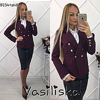 Красивый бордовый пиджак с пуговицами ан-10672-2