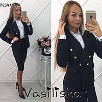 Красивый черный пиджак с пуговицами ан-10672-1