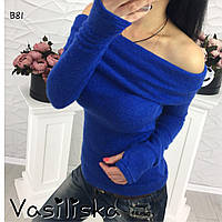 Красивая синяя женская кофта из ангоры ан-10688-1, фото 1
