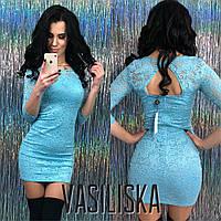 Короткое гипюровое платье ан-11695-1, фото 1