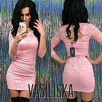 Короткое гипюровое платье ан-11695-2, фото 1