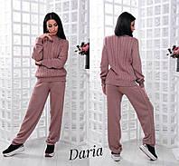 Вязаный женский спортивный костюм с прямыми штанами 5510232