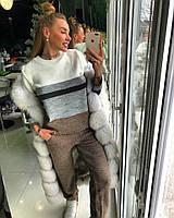 Женский вязаный костюм с полоской на кофте и прямыми штанами 1810233