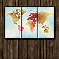 """Модульная картина """"Карта мира. Цветная акварель."""""""