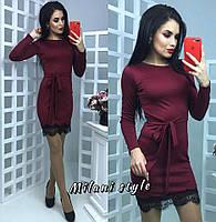 Сливовое платье мини с кружевом тв-12026-4
