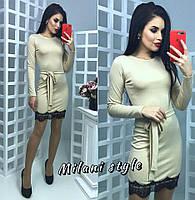 Бежевое платье мини с кружевом тв-12026-1