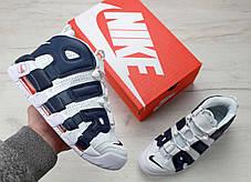 """Кроссовки мужские Nike Air More Uptempo 96 """"WHITE & DEEP ROYAL BLUE"""", фото 2"""