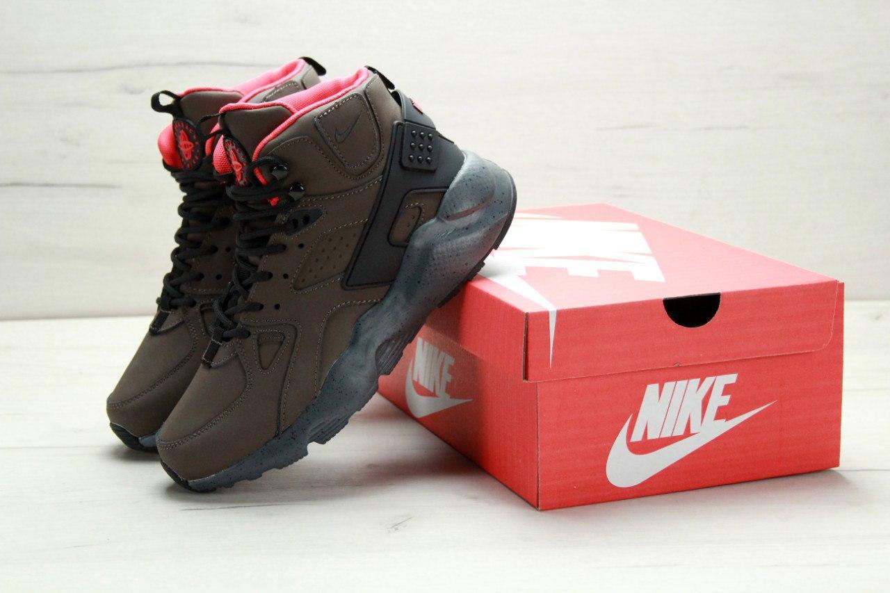 Кроссовки мужские Найк Nike Air Huarache High Top Brown. ТОП Реплика ААА класса.