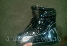 Луноходы  мунбуты женские  Moon boot Gucci черные в пайетках  код 1228, фото 3