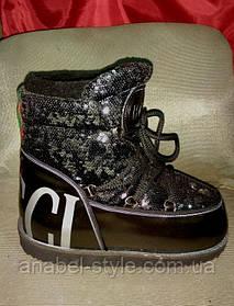 Луноходы  мунбуты женские  Moon boot Gucci черные в пайетках  код 1228