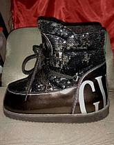 Луноходы  мунбуты женские  Moon boot Gucci черные в пайетках  код 1228, фото 2