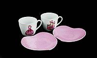 Подарочный Чайный Фарфоровый Набор 2 Чашки 220мл С Блюдцем