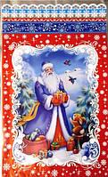 """Пакет полипропиленовый с рисунком """"Дед Мороз и зайчик"""", 25×40 см"""